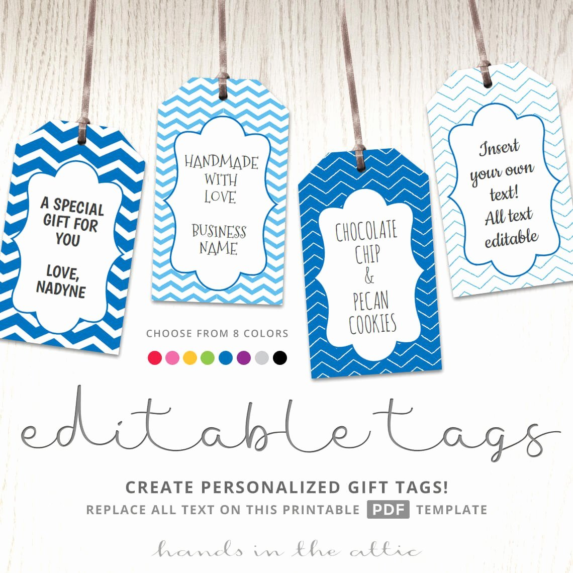 Gift Bag Tag Template Luxury Editable T Tags T Tag Template Text Editable Chevron