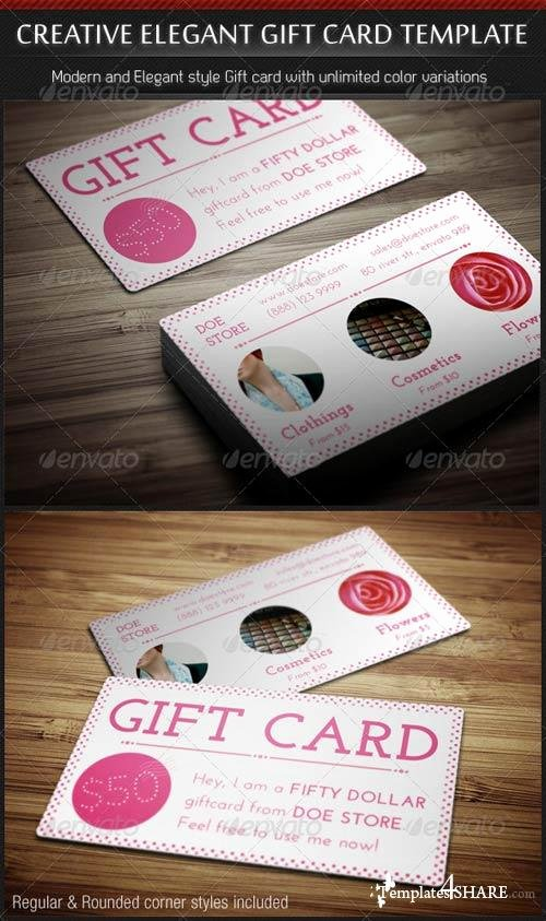 Gift Card Template Psd Fresh Graphicriver Creative Elegant Gift Card Template