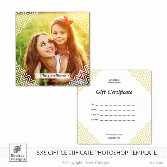 Gift Card Template Psd Luxury 5x5 Gift Certificate Psd Shop Template for