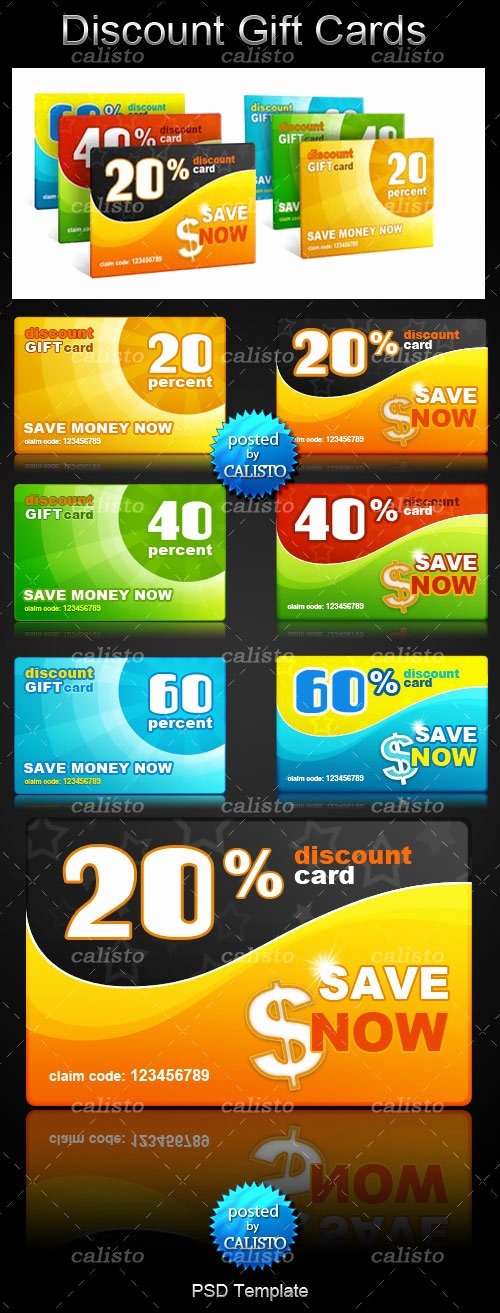 Gift Card Template Psd Luxury Discount Gift Cards Psd Template Портал о дизайне