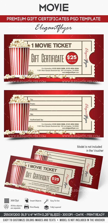 movie premium t certificate psd template
