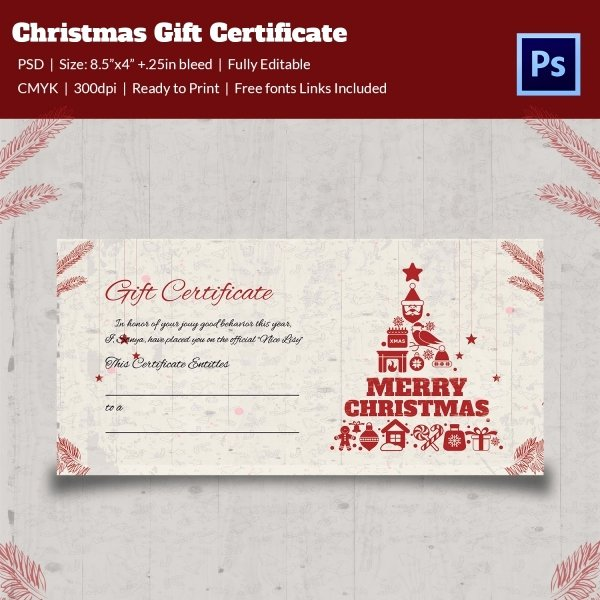 Gift Certificate Template Psd Awesome Christmas Gift Certificate Templates 21 Psd format