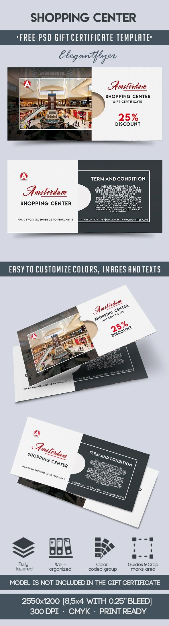Gift Certificate Template Psd Elegant Shopping Center – Free Gift Certificate Psd Template – by