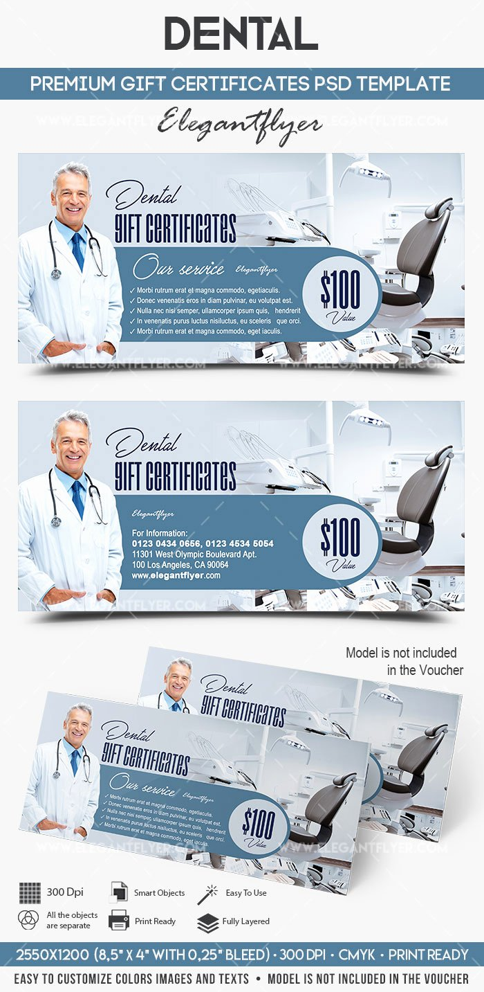 Gift Certificate Template Psd Lovely Dental Gift Certificate Template – by Elegantflyer