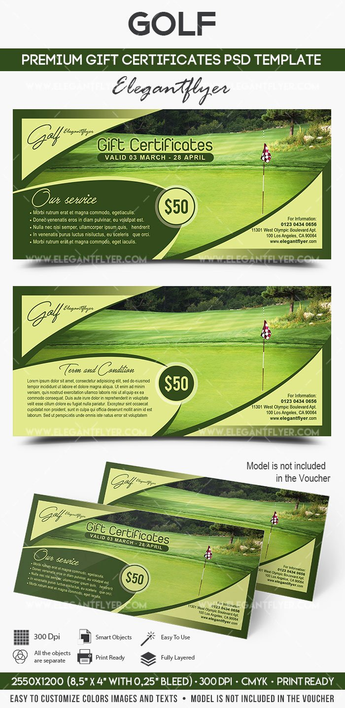 Gift Certificate Template Psd Luxury Golf – Premium Gift Certificate Psd Template – by Elegantflyer
