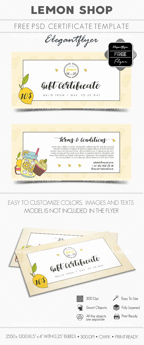 Gift Certificate Template Psd New Lemon Shop – Free Gift Certificate Psd Template – by