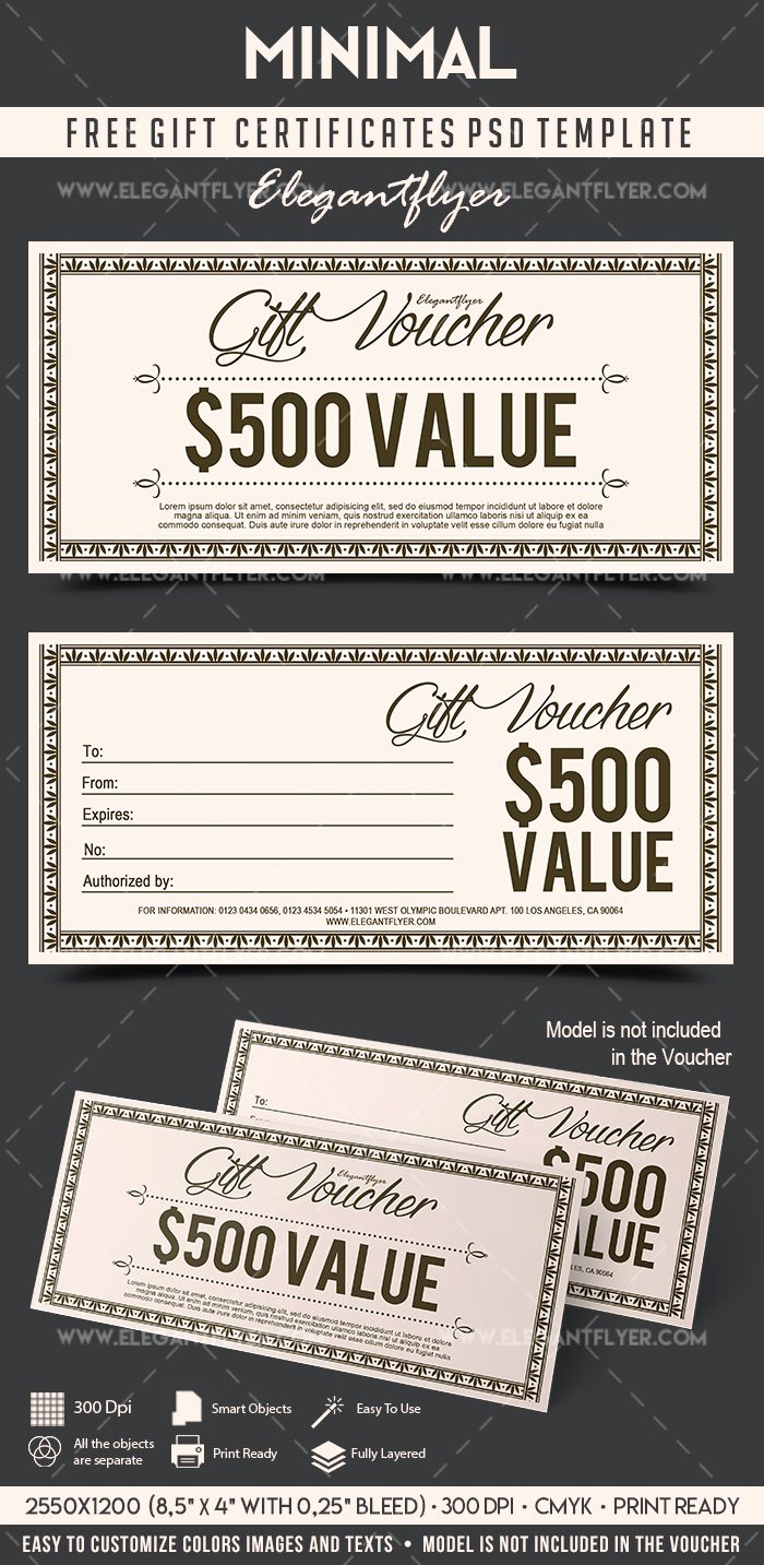 Gift Certificate Template Psd Unique Minimal – Free Gift Certificate Psd Template – by Elegantflyer