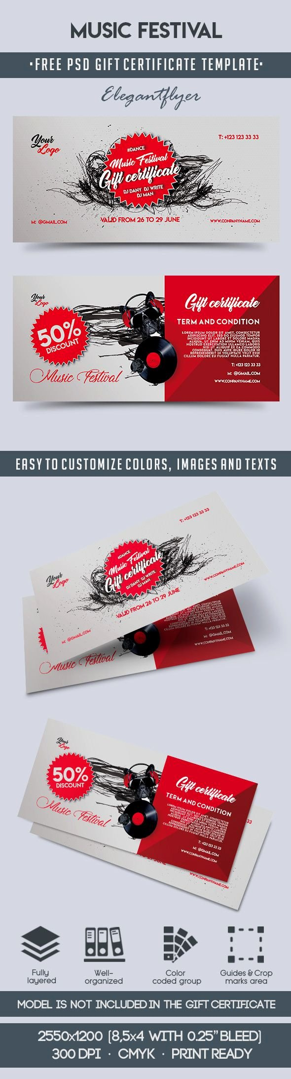Gift Certificate Template Psd Unique Music Festival – Free Gift Certificate Psd Template – by
