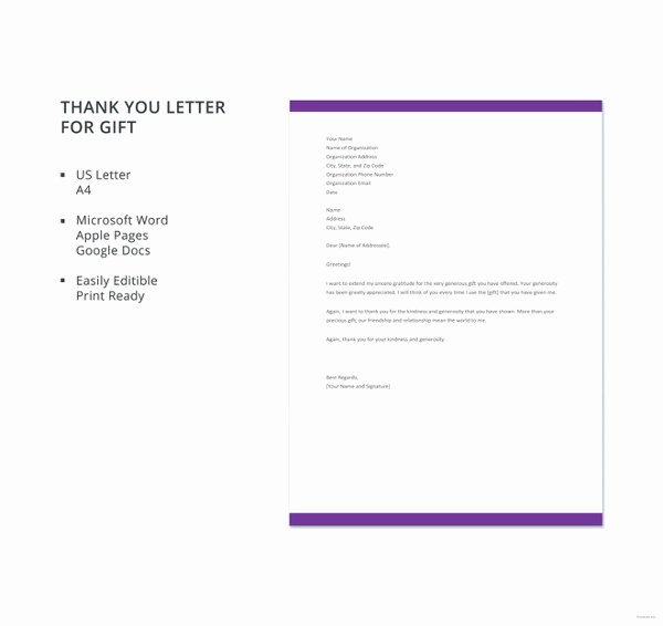 Gift Letter Template Word Elegant Gift Letter Templates 8 Free Word Pdf format Download