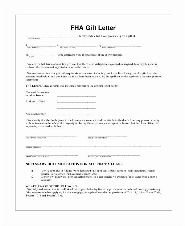 Gift Letter Template Word Unique 9 Sample Gift Letters – Pdf Word