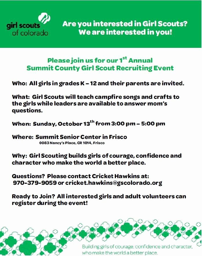 Girl Scout Flyer Template Awesome Girl Scouts Recruiting event In Summit County Colorado