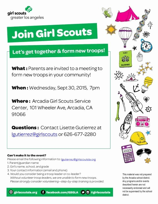 Girl Scout Flyer Template Beautiful Fall Recruitment Parent Info Meeting Girl Scouts