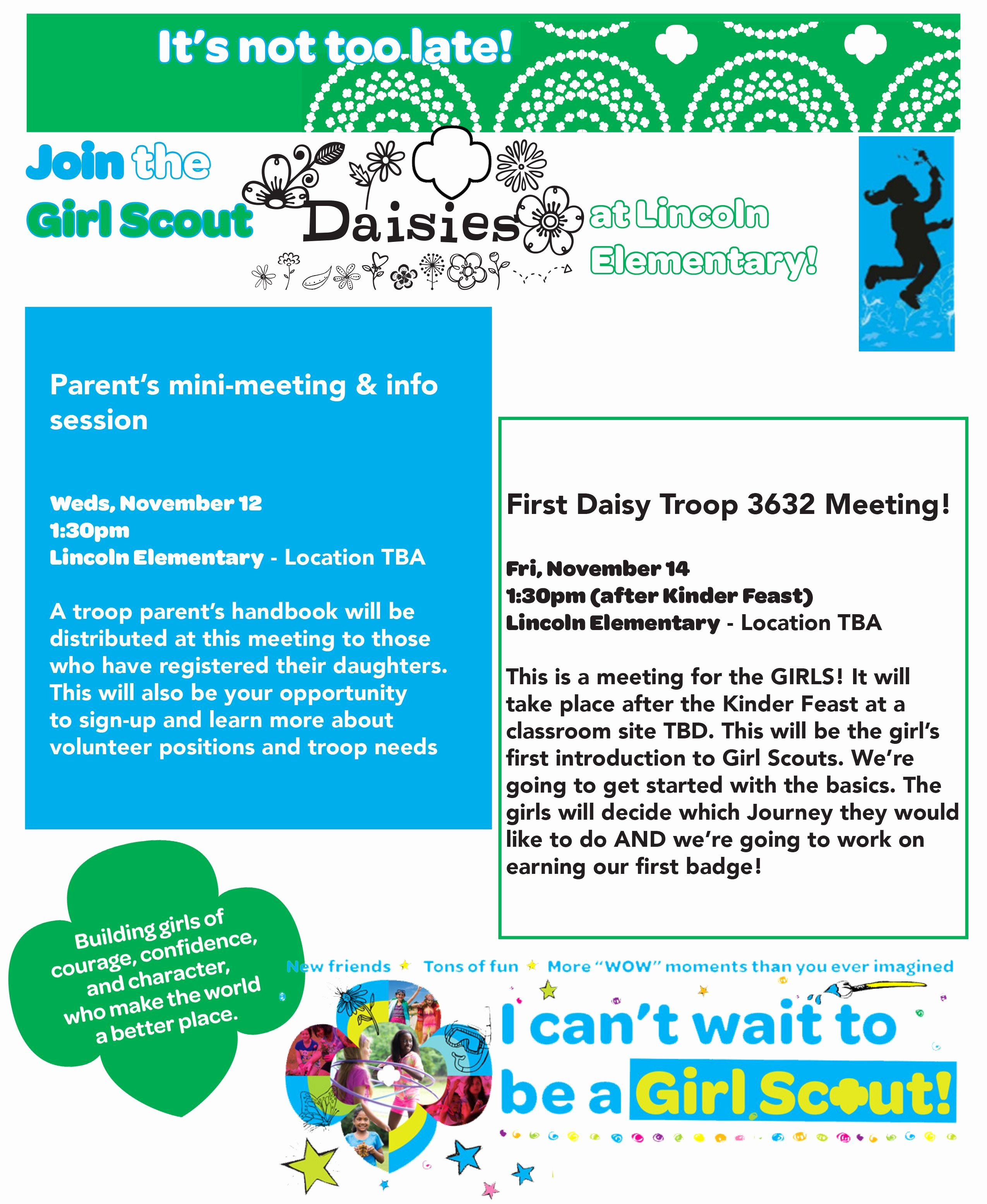 Girl Scout Flyer Template New Daisy Girl Scout Recruitment Flyer Designed by Charmaine