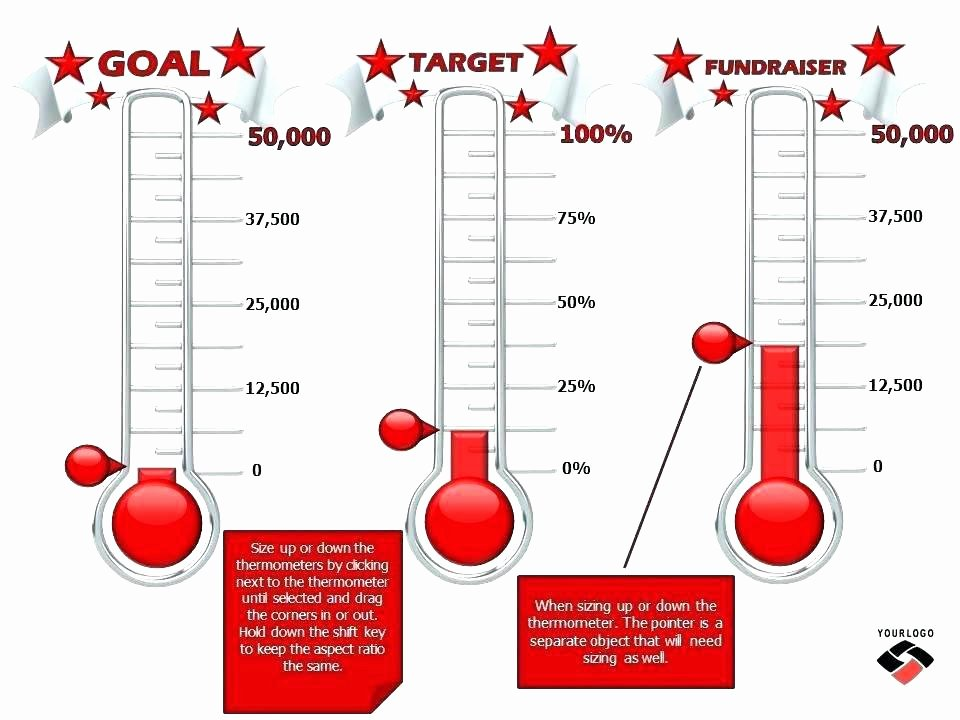 Goal thermometer Template Excel Elegant Fundraiser thermometer Fundraising Goal Template Tracker