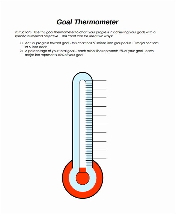 Goal thermometer Template Excel New 10 Sample thermometer Templates