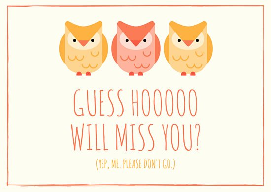 Going Away Card Template Beautiful Owl Miss You Going Away Card Templates by Canva