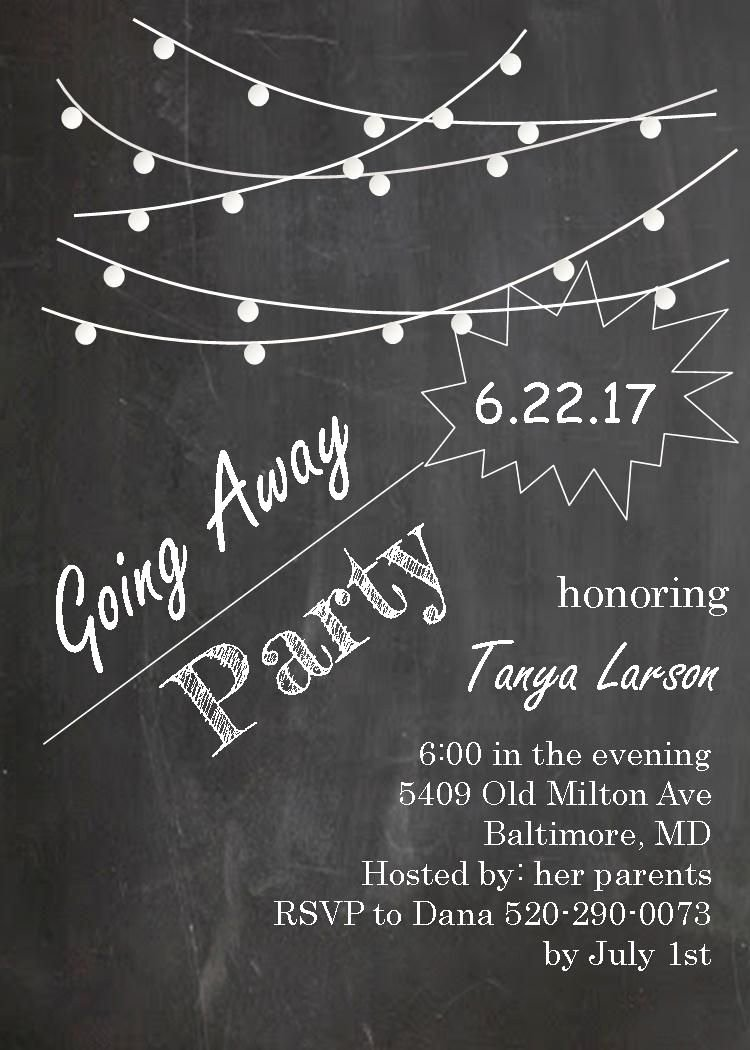 Going Away Card Template Best Of Going Away Party Invitations Farewell Blackboard with