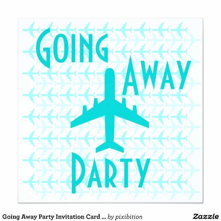 Going Away Card Template Elegant Going Away Party Invitation Card Plane Teal