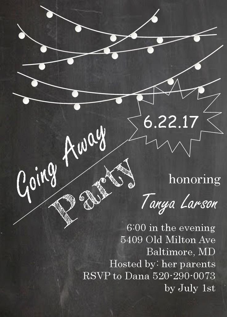 Going Away Card Template Elegant Going Away Party Invitations Farewell Blackboard with