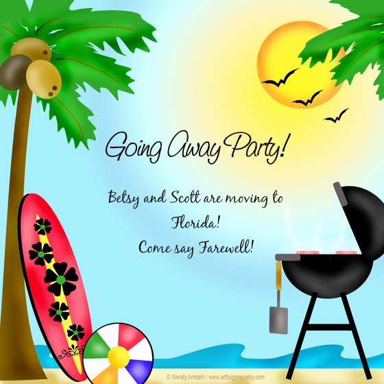 Going Away Card Template New Betsy & Scott S Going Away Party Line Invitations