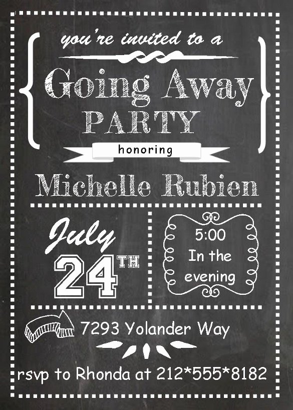 Going Away Card Template New Farewell Party Invitation Template 29 Free Psd format