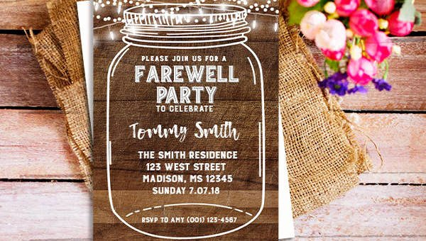 Going Away Card Template Unique 26 Farewell Invitation Templates Psd Eps Ai