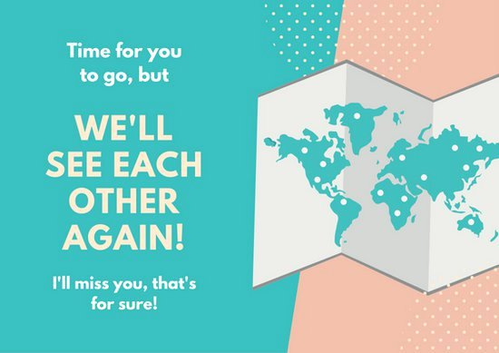 Going Away Card Template Unique Teal Peach World Map Farewell Going Away Card Templates
