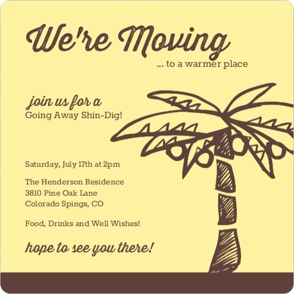 Going Away Invitation Template Best Of Yellow and Brown Palm Tree Going Away Invitation