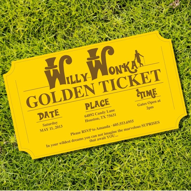 Golden Ticket Template Editable Beautiful Willy Wonka Golden Ticket Party Invitations From