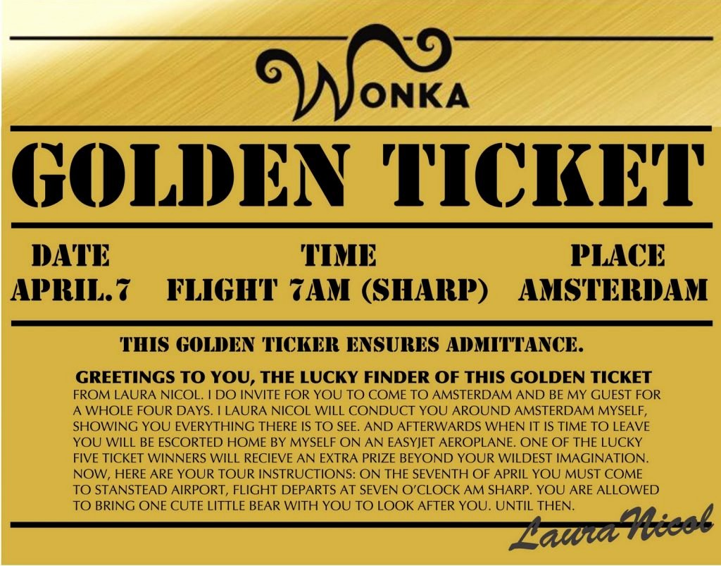 Golden Ticket Template Editable Best Of Golden Ticket Template Black and White Wonka Free Willy