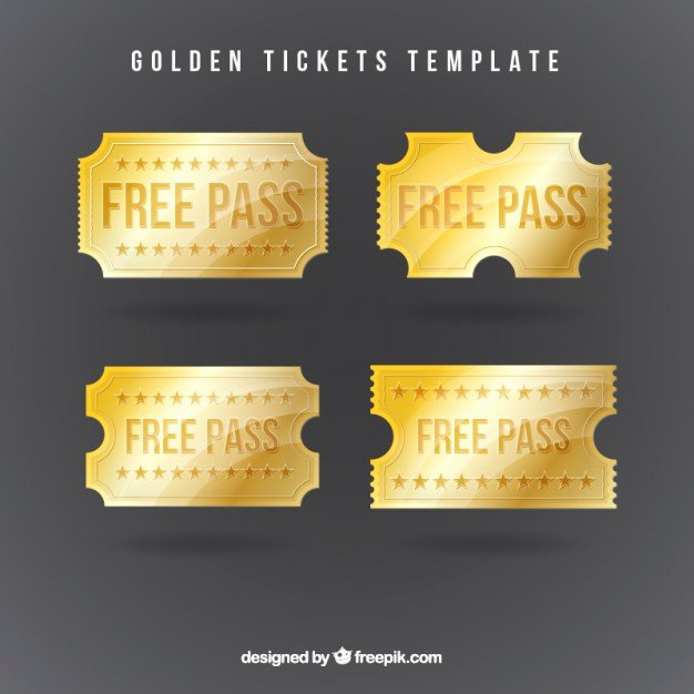 Golden Ticket Template Editable Fresh Golden Tickets Template Vector