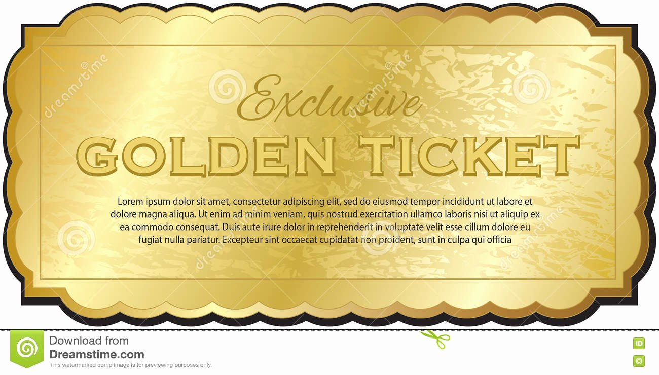 Golden Ticket Template Editable Lovely Golden Ticket Stock Vector Illustration Of Performance