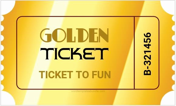 Golden Ticket Template Editable Lovely Golden Ticket Templates for Ms Word
