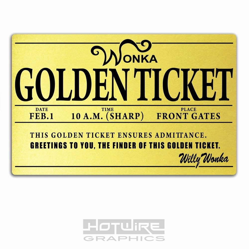 Golden Ticket Template Editable Luxury Printed Plastic Card Willy Wonka Golden Ticket