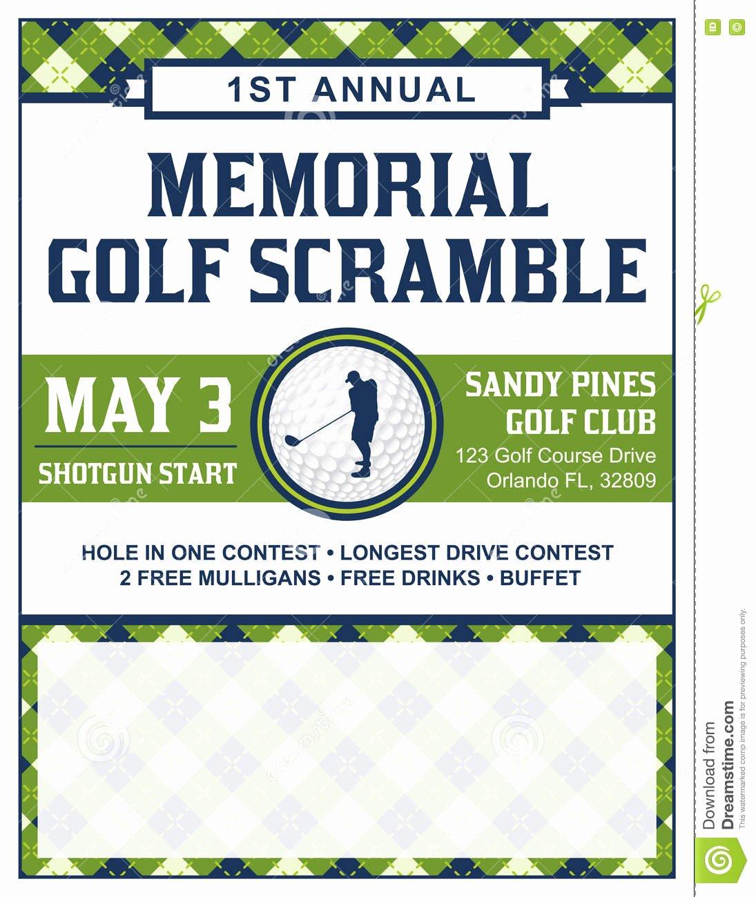Golf Flyer Template Free Fresh Golf tournament Flyer Template Stock Vector Illustration