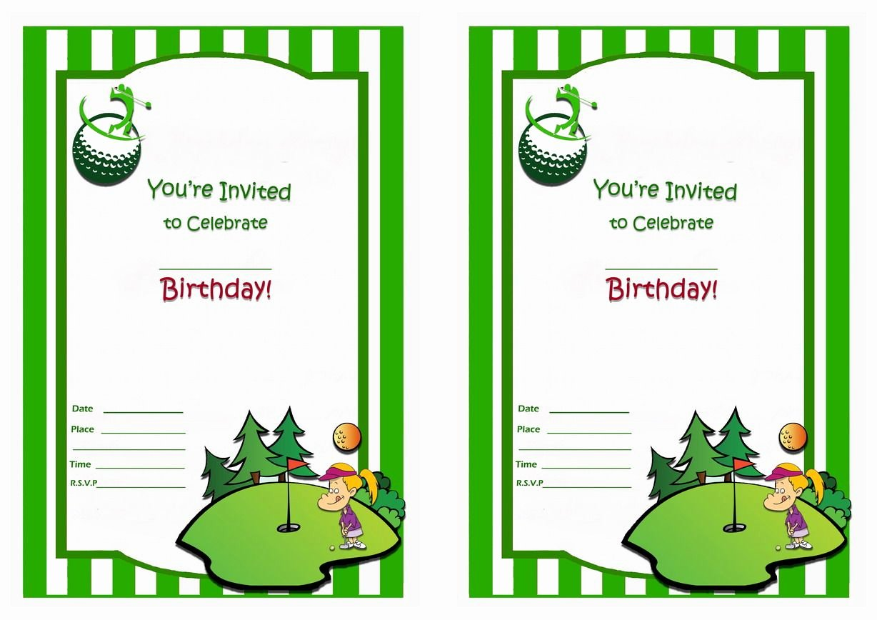 Golf Invitation Template Free Awesome Golf Free Printable Birthday Party Invitations
