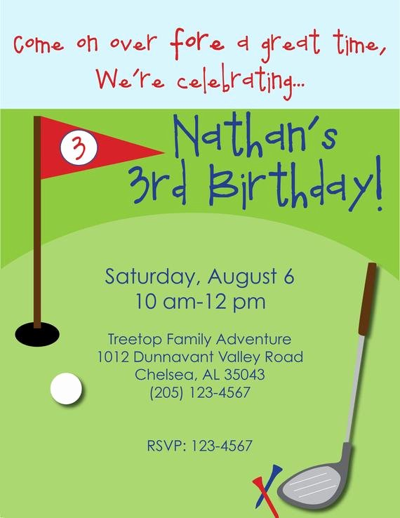Golf Invitation Template Free Fresh Mini Golf Birthday Invitation Custom Little Golfer Birthday