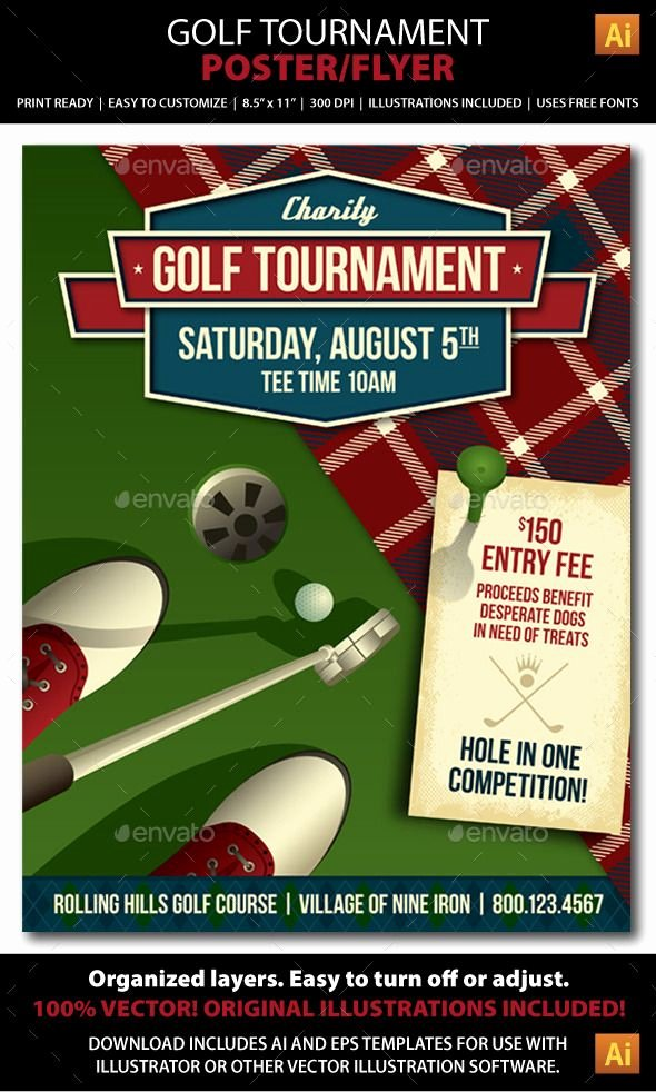 Golf Outing Flyer Template Beautiful Golf tournament event Poster or Flyer Sports events