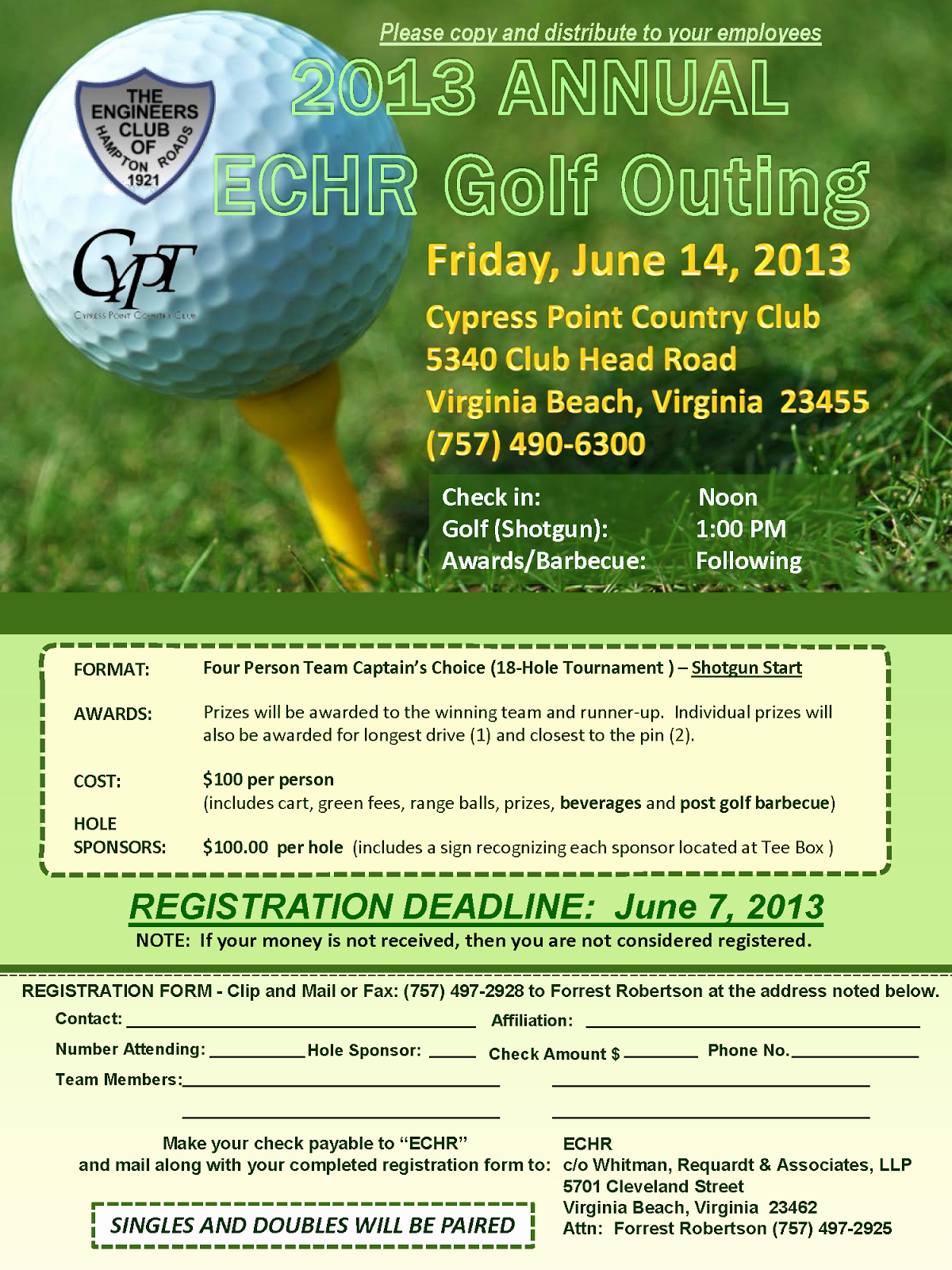 Golf Outing Flyer Template Inspirational Tidewater Chapter Vspe 2013 Annual Echr Golf Outing