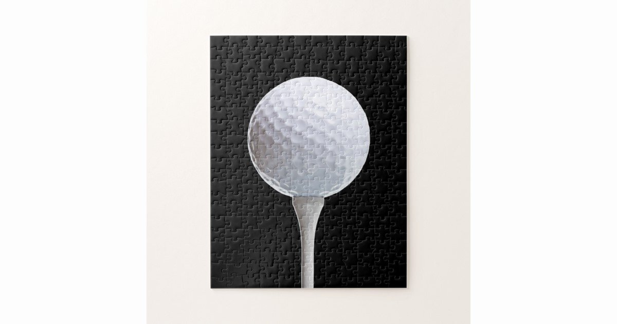 Golf Tee Game Template Awesome Golf Ball & Tee On Black Customized Template Jigsaw