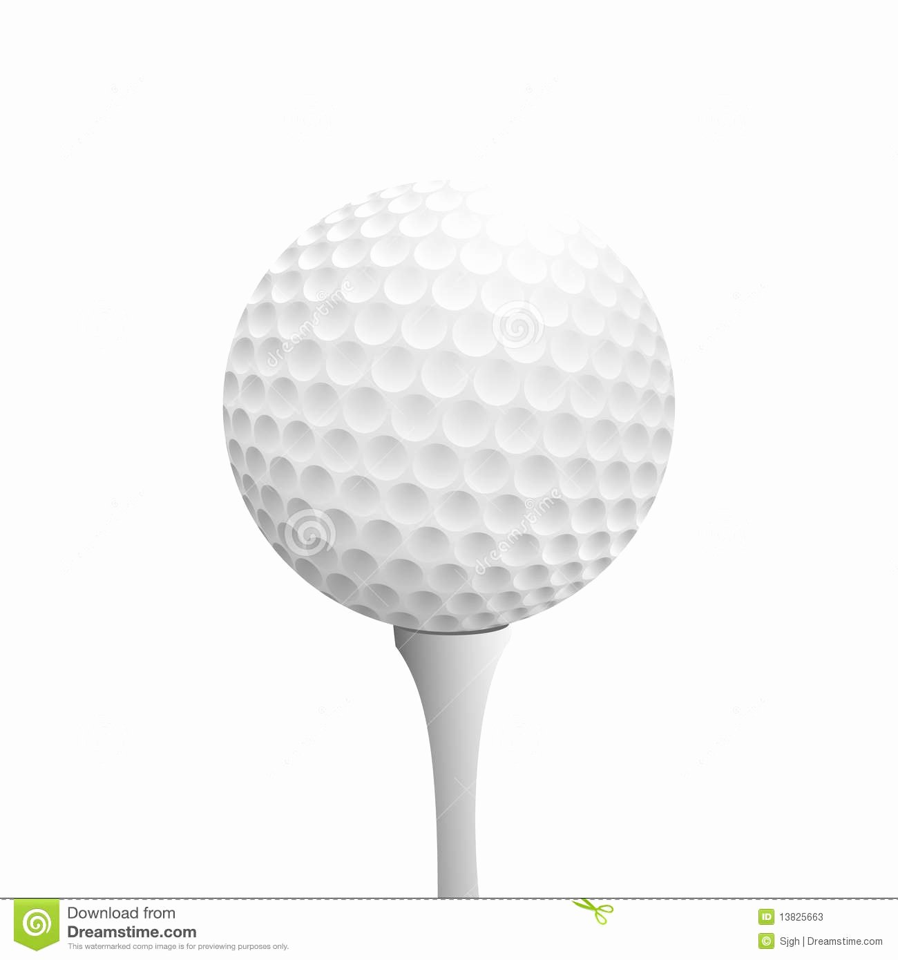 Golf Tee Game Template Elegant Golfball Realistic Vector Image Single Golf Equipment