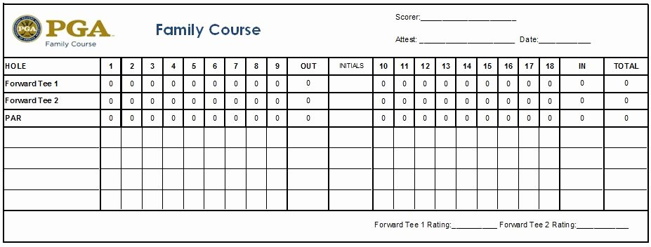 Golf Tee Game Template Luxury Scorecard Usga Rating