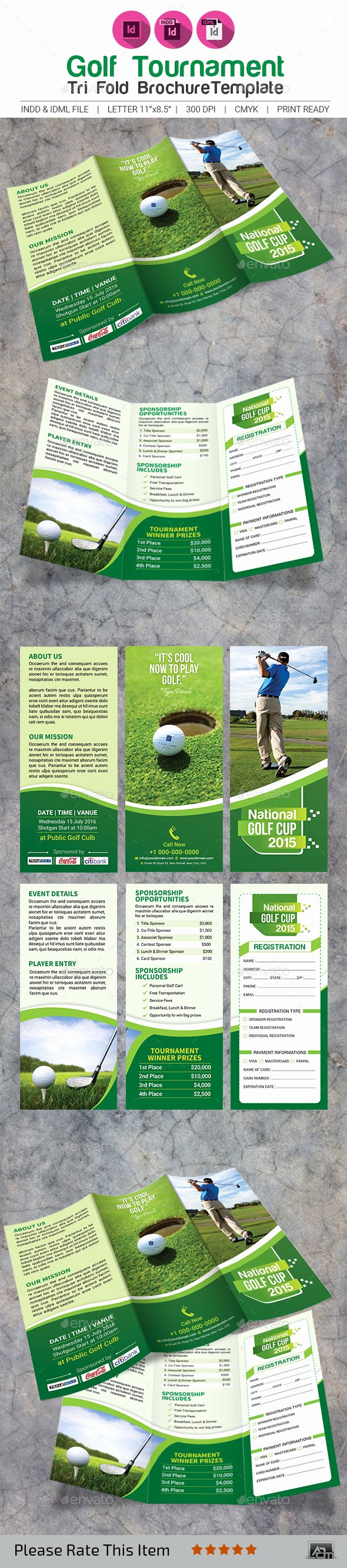 Golf tournament Brochure Template Awesome Golf tournament Tri Fold Brochure Template by Aam360