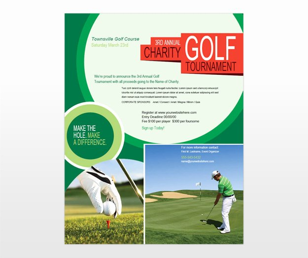 Golf tournament Brochure Template Beautiful Golf tournament & Golf Scramble Flyer Template