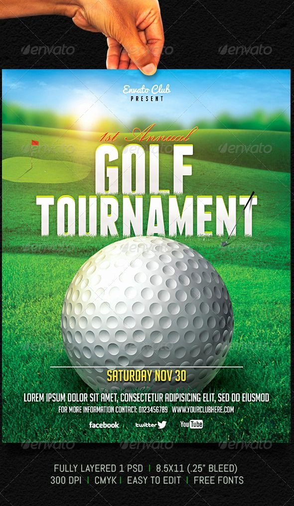 Golf tournament Brochure Template Best Of Golf tournament Flyer Graphicriver Fully Layered 1 Psd