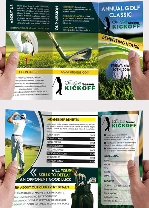 Golf tournament Brochure Template Fresh Golf tournament Premium Tri Fold Psd Brochure Template