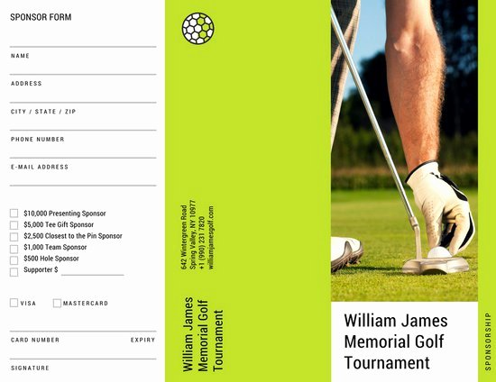 Golf tournament Brochure Template New Green Golf tournament Sponsorship form Trifold