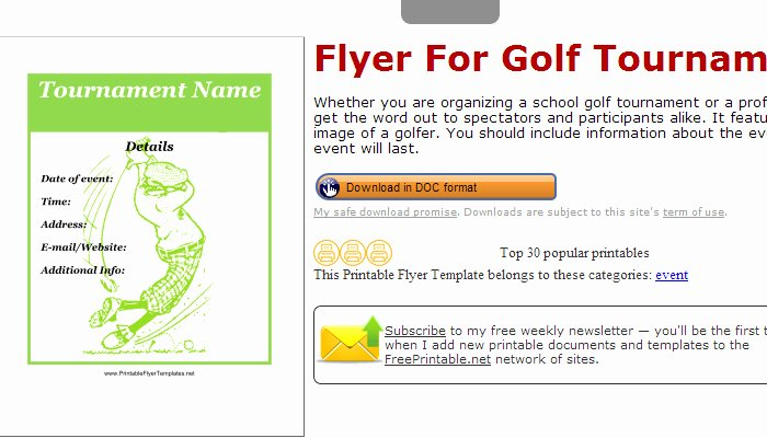 Golf tournament Flyers Template Beautiful 5 Free Golf tournament Flyer Templates
