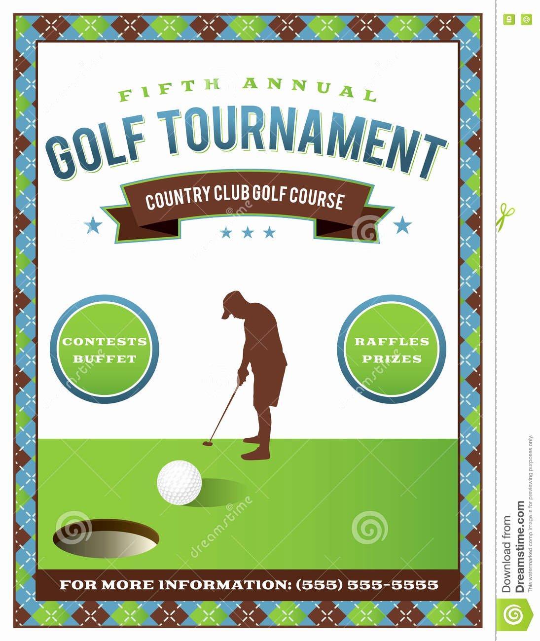 Golf tournament Flyers Template Elegant Golf tournament Flyer Template Stock Vector Illustration