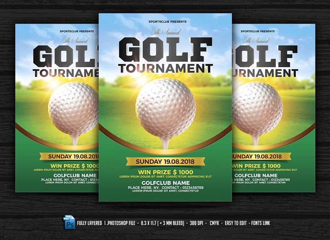 Golf tournament Flyers Template Unique Golf tournament Flyer Flyer Templates Creative Market